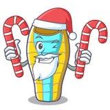 Санта с шаржем талисмана спать конфеты плохим бесплатная иллюстрация