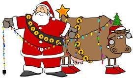 Санта украшая его корову рождества иллюстрация вектора