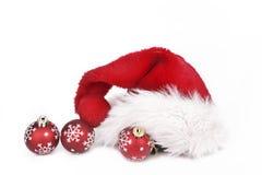 Санта klaus на шариках рождества стоковое фото rf