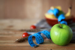 Сантиметр яблока плодоовощ диеты завтрака Стоковые Фото
