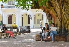 Санто Доминго, Доминиканская Республика Жизнь улицы и взгляд Calle el Conde и колониальной зоны города Санто Доминго Стоковая Фотография