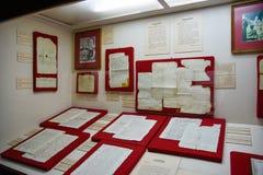 Санто Доминго, Доминиканская Республика Подлинные рукописи от Christopher Columbus Музей внутри маяка Колумбуса Стоковая Фотография
