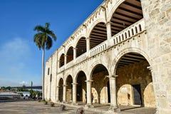 Санто Доминго, Доминиканская Республика Alcazar de Двоеточие (дом) Diego Колумбуса, испанский квадрат Стоковое Изображение RF