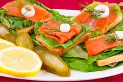 сандвичи изолированные предпосылкой salmon белые Стоковое Изображение RF