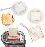Сандвичи от хлеба и мягкого сыра с тостером Стоковые Изображения RF