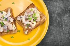 Сандвичи сельдей соли в желтой плите Стоковое Изображение