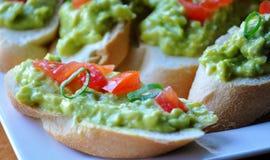 Сандвичи с сливк-затиром авокадоа Стоковая Фотография RF