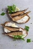Сандвичи с шпротинами или сардинами стоковое изображение rf