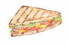 сандвич акварели иллюстрация вектора