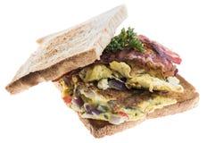 Сандвич взбитого яйца на белизне Стоковое Фото