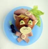 Сандвич в форме кота Стоковые Фото