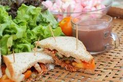 Сандвич горячего шоколада и тунца зефиров розовый стоковое изображение