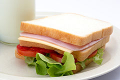 Сандвич и парное молоко стоковые изображения rf