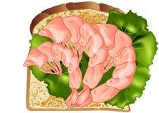 Сандвич креветки бесплатная иллюстрация