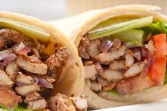 Сандвич крена обруча пита цыпленка shawarma Kafta Стоковое Изображение