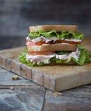 Сандвич клуба цыпленка с салатом и томатом Стоковое фото RF