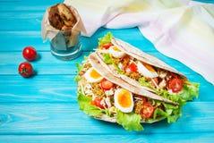 Сандвич пита заполненный с цыпленком, яичком, салатом, сыром, томатом вишни на голубой древесине Стоковое фото RF