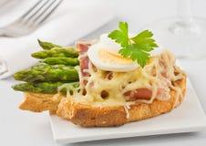 Сандвич сыра ветчины спаржи Стоковые Фото