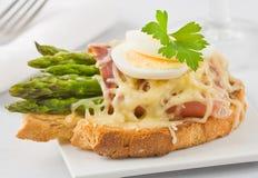 Сандвич сыра ветчины спаржи Стоковое Изображение RF