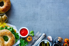 Сандвич сыра на бейгл Стоковая Фотография RF