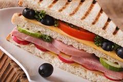 Сандвич с ветчиной, сыром и макросом овощей на плите Стоковое Изображение RF