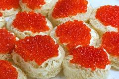 Сандвич с красной икрой Стоковое Изображение