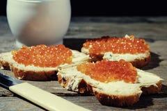 Сандвич с маслом и икрой Стоковые Изображения
