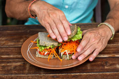 Сандвич с овощами, вегетарианский сандвич о хлебе Стоковая Фотография RF