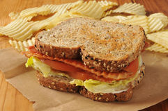 Сандвич томата салата бекона Стоковое Изображение RF