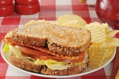 Сандвич томата салата бекона Стоковая Фотография RF