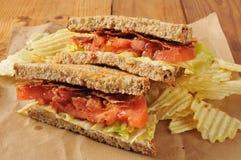 Сандвич томата салата бекона Стоковое Изображение