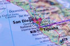Сан-Диего и Тихуана на карте Стоковая Фотография RF