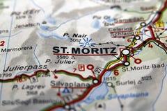 Сан Мориц на карте, Италия Стоковые Изображения