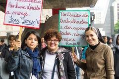 Сан-Паулу, Бразилия - 28-ое апреля 2017 Общенациональная забастовка в Бразилии Стоковое фото RF