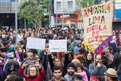 Сан-Паулу, Бразилия - 28-ое апреля 2017 Общенациональная забастовка в Бразилии Стоковые Фотографии RF