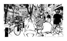 Сан-Франциско, историческая улица и трамвайная линия иллюстрация вектора