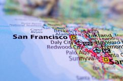 Сан-Франциско на карте стоковое изображение rf