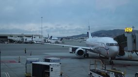 Сан-Франциско, CA, США/май 2019: Видео промежутка времени аэропорта Сан-Франциско Internaional изнутри терминала видеоматериал