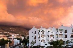 САН-ХУАН, TENERIFE/SPAIN - 16-ОЕ ЯНВАРЯ 2015: Заход солнца на Callao s Стоковое Изображение RF