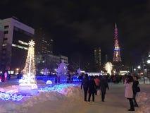 САППОРО, ЯПОНИЯ - 17-ОЕ ДЕКАБРЯ 2016: Рождество празднует на парке Odori Стоковое Изображение RF