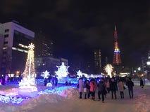 САППОРО, ЯПОНИЯ - 17-ОЕ ДЕКАБРЯ 2016: Рождество празднует на парке Odori Стоковое фото RF