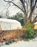Сарай Snowy стоковые изображения