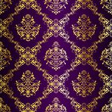 сари затейливой картины золота пурпуровое безшовное Стоковые Изображения RF