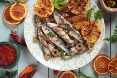 сардина зажженная рыбами Стоковая Фотография