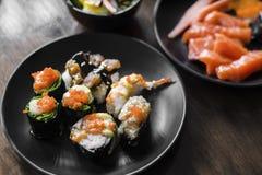 Сасими и суши на блюде Стоковые Изображения