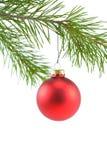 сатинировка красного цвета ornam рождества шарика стоковые изображения rf