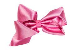 сатинировка смычка розовая Изолят на белизне Стоковая Фотография RF