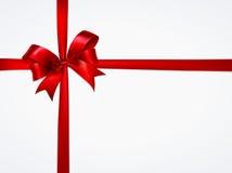 сатинировки тесемки предпосылки белизна красной глянцеватая Стоковая Фотография RF