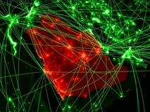 Саудовская Аравия на зеленой карте стоковая фотография rf