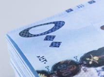 Саудовские банкноты риала 500 поднимающих вверх крайности близких Стоковое Изображение